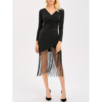 Back Cut Out Fringe Flapper Dress