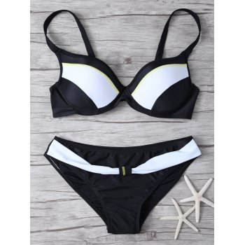 Cami Gathered Color Block Bikini Set