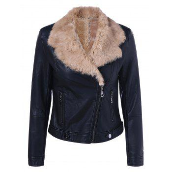 Faux Fur Collar Cropped Biker Jacket