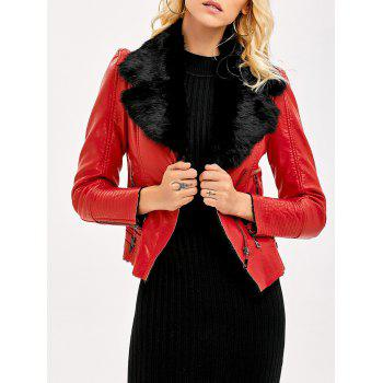 Faux Fur Collar Slim Fitted Biker Jacket