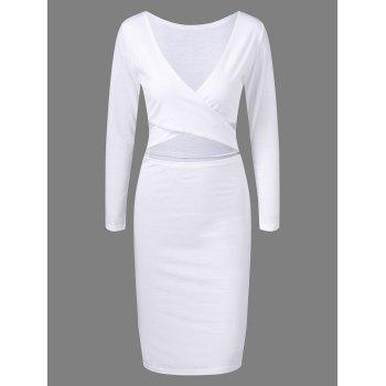 Cut Out Long Sleeve Fitted Midi Bandage Dress