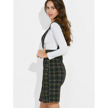 Plaid Suspender Skirt and Slim Fit Tee - GREEN GREEN