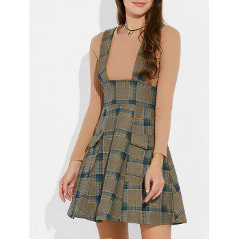 Plaid Suspender Skirt and Slim Fit T-Shirt