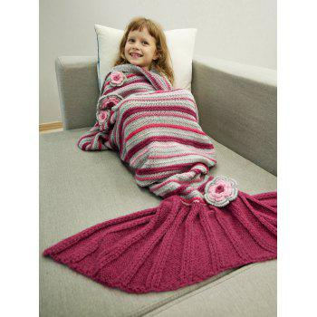 Knitted Stripe Floral Decorative Bed Sofa Mermaid Blanket - RED