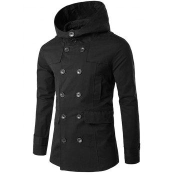 Hooded Lapel Collar Double Breasted Coat