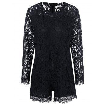 Plus Size Sheer Long Sleeve Lace Romper