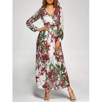 Chiffon Floral Long Sleeve Maxi Plunge Dress