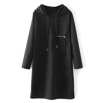 Zipper Insert String Hoodie Dress