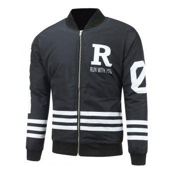 Zip Up Striped Graphic Padded Jacket