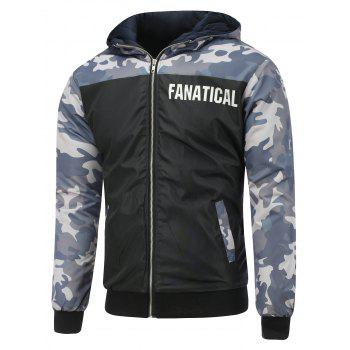 Hooded Camo Insert Zip Up Padded Jacket