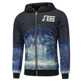 Zip Up Forest Print Hooded Padded Jacket
