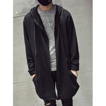 Drawatring Open Front Hooded Longline Coat