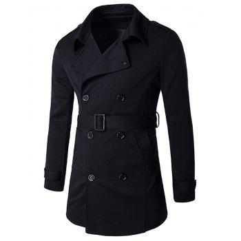 Buy Epaulet Adorn Lapel Collar Double Breasted Coat BLACK