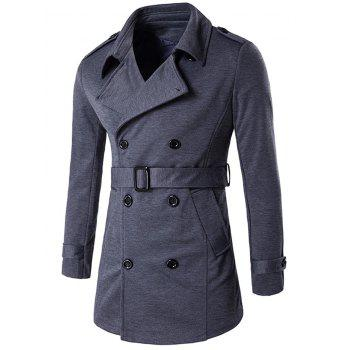 Epaulet Adorn Lapel Collar Double Breasted Coat