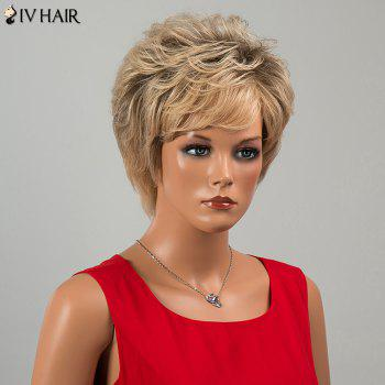 Siv Hair Short Side Bang Fluffy Slightly Curled Human Hair Wig - COLORMIX