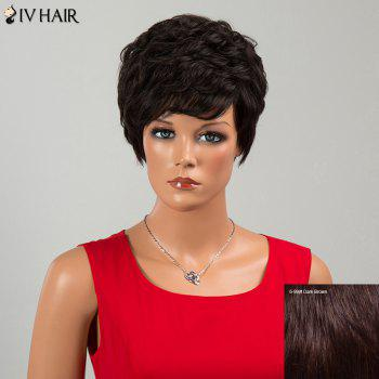 Siv cheveux Neat Bang court Fluffy Layered Curly perruque de cheveux humains