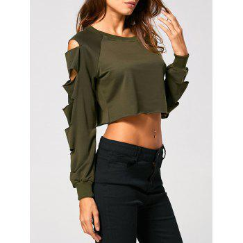 Long Sleeve Ripped  Cropped Sweatshirt