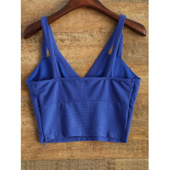 Slim Fit Cropped Tank Top - BLUE 2XL
