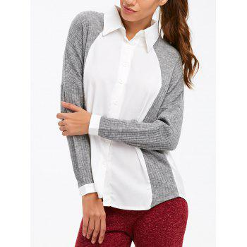 Ribbed Knitted Insert Shirt
