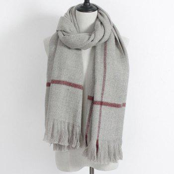 Winter Plaid Print Fringe Scarf