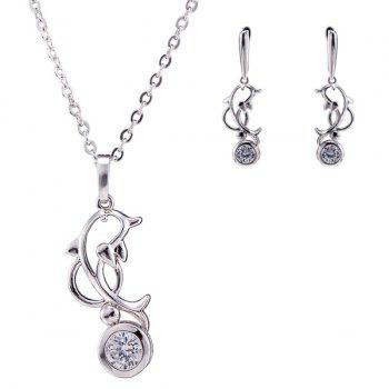 Filigree Dolphin Rhinestone Necklace Set