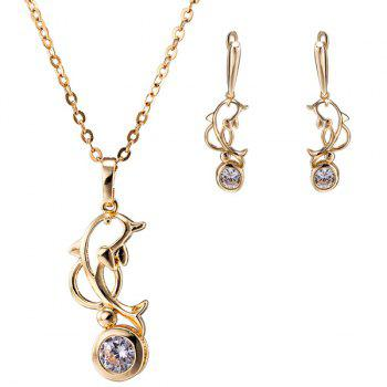 Hollow Out Dolphin Zircon Necklace Set