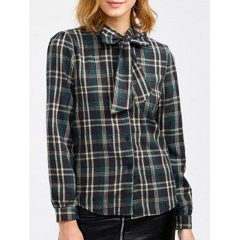 Plaid Pussy Bow Blouse