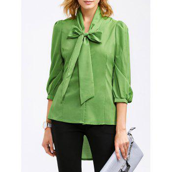 Pussy Bow High Low Hem Blouse