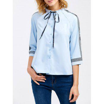 Chiffon Pussy Bow Embroidery Trim Blouse