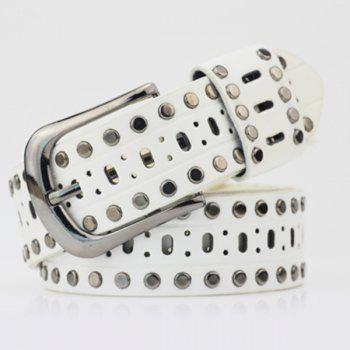 Hollow Out Rivets PU Wide Belt