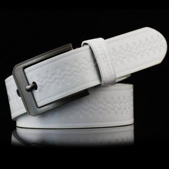 Retro Wavy Embossed Wide Belt - WHITE WHITE