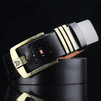 Hollow Out Letters Cameo Buckle PU Wide Belt - BLACK BLACK