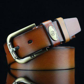 Oval Alloy Label PU Wide Belt