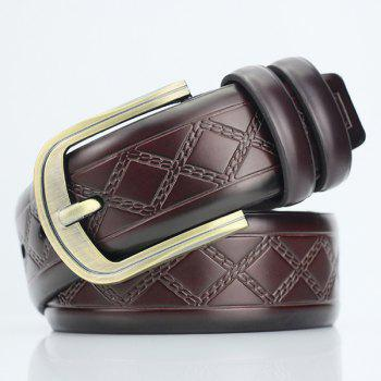 Rhombus Plaid Embossed PU Wide Belt - COFFEE COFFEE