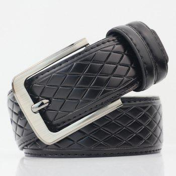 Rhombus Mesh Plaid PU Wide Belt - BLACK BLACK