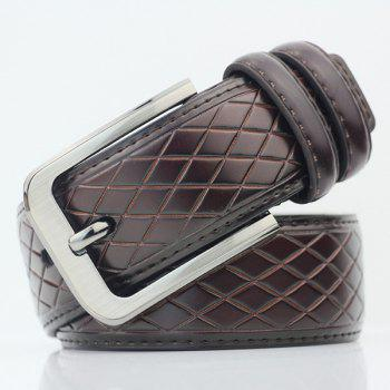 Rhombus Mesh Plaid PU Wide Belt