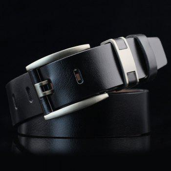Hollow Out Pin Buckle PU Wide Belt - BLACK BLACK