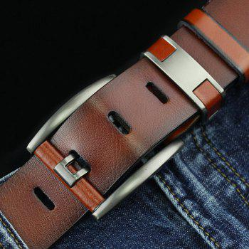 Hollow Out Pin Buckle PU Wide Belt -  BROWN