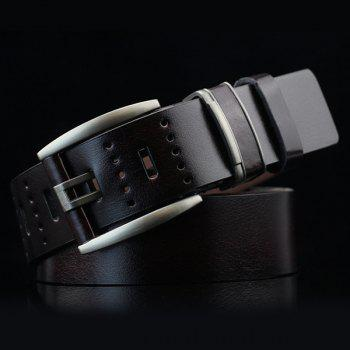 Hollow Out Small Hole Pin Buckle PU Belt - BLACK BLACK