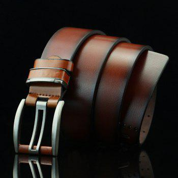 Hollow Out Small Hole Pin Buckle PU Belt - BROWN