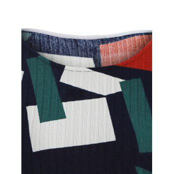 Color Block Geometry Patchwork Plus Size Knitwear - COLORMIX XL