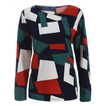 Color Block Geometry Patchwork Plus Size Knitwear