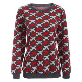 Casual Airplane Pattern Plus Size Knit Sweatshirt