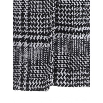 Pom Ball Houndstooth Pattern Plus Size Hooded Coat - BLACK 2XL