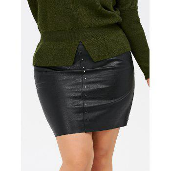 Pockets Round Rivet Plus Size PU Leather Skirt