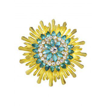 Faux Crystal Enamel Flower Brooch