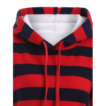 Drawstring Striped Thicken Plus Size Hoodie Dress - RED XL