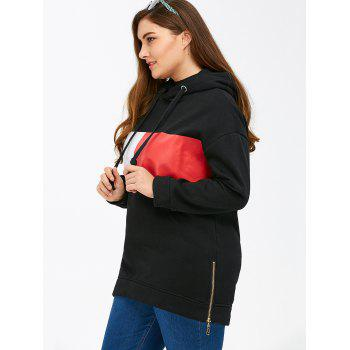 Color Block Rectangle Pattern Plus Size Drawstring Hoodie - BLACK 2XL