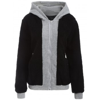 Faux Shearling Panel Plus Size Thicken Hoodie