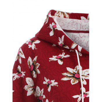 Casual Floral Print Plus Size Drawstring Hoodie - RED 2XL